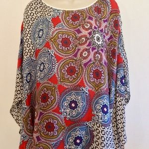 Chico's Multicolored paisley  top dolman sleeves